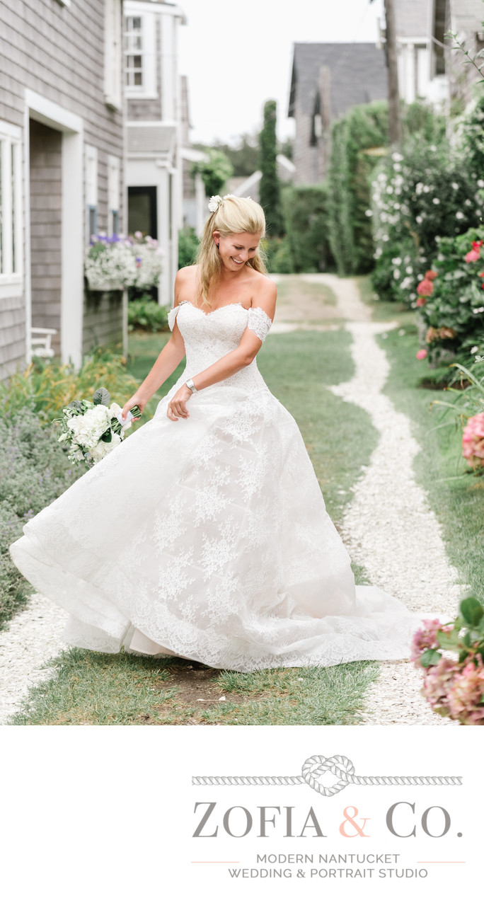 beautiful blonde bride sconset lhuillier gown