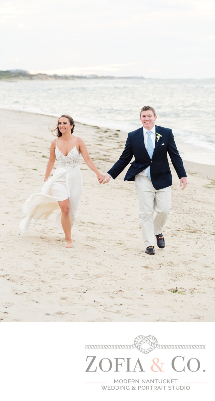 windy wedding nantucket couple on galley beach