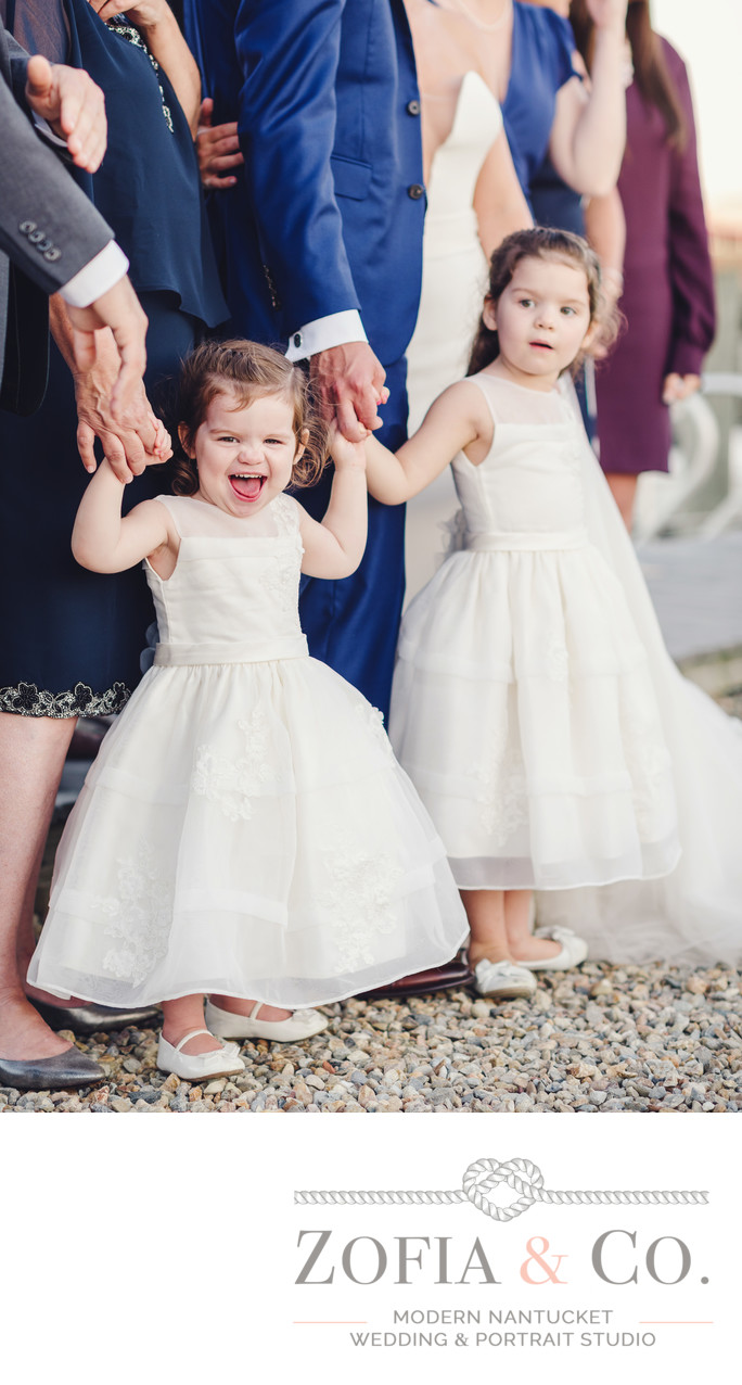 candid laughing flowergirls