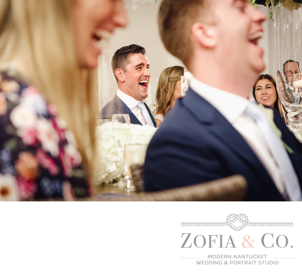 laughing groom reception