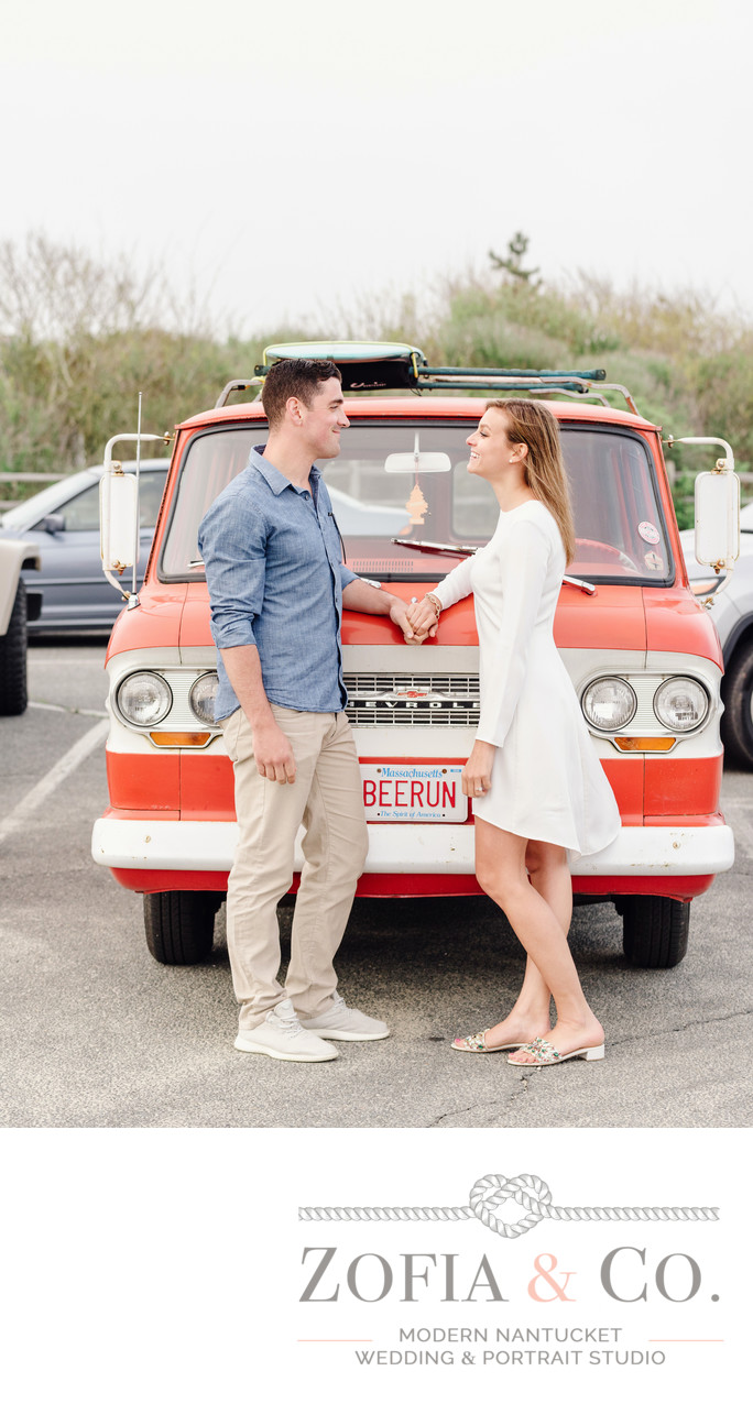red beerun chevy truck beach engagement couple