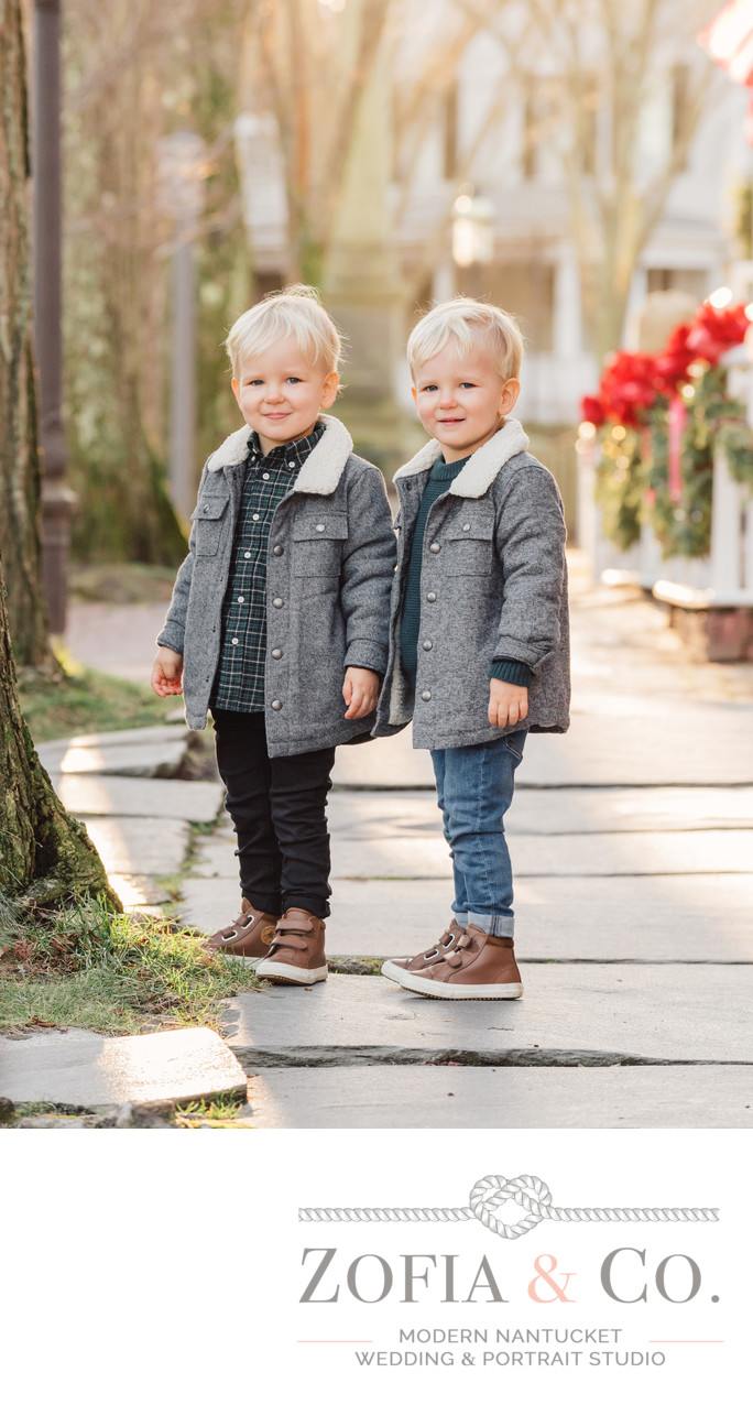 blond twin toddlers main st nantucket holiday portrait