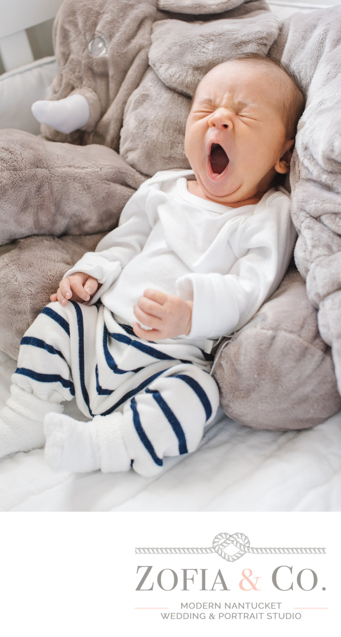 yawing baby portrait