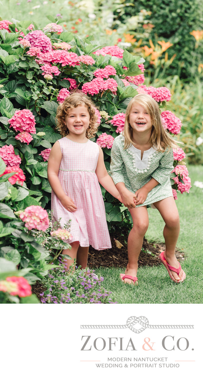 cute sisters in sconset pink hydrangeas