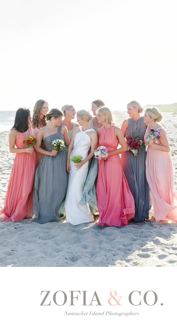 tom nevers wedding bridesmaids on beach