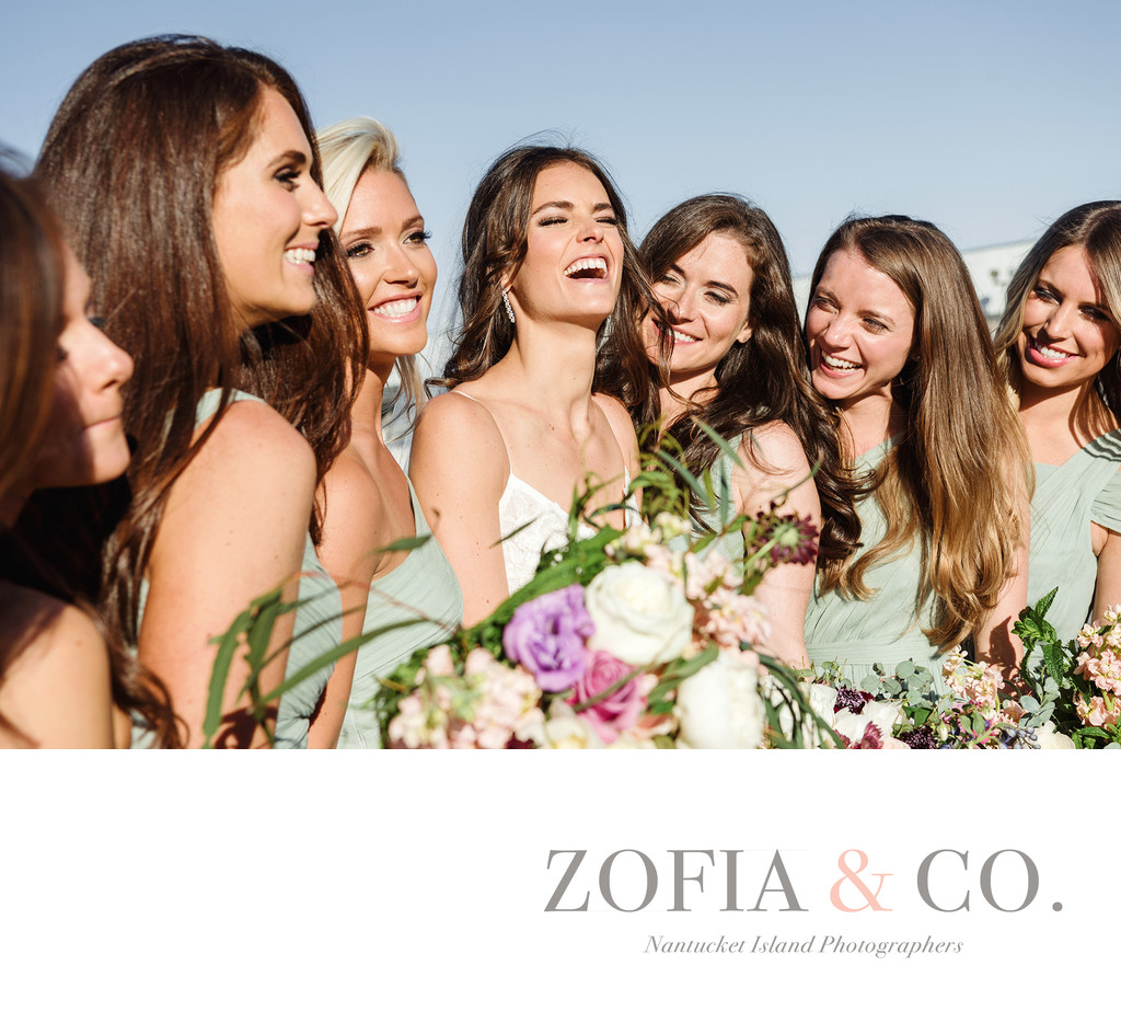 laughing bridesmaids in green nantucket yacht club