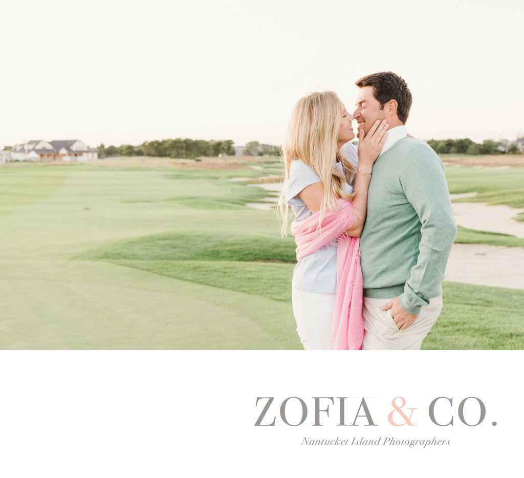 Nantucket Engagement Session on Golf Course