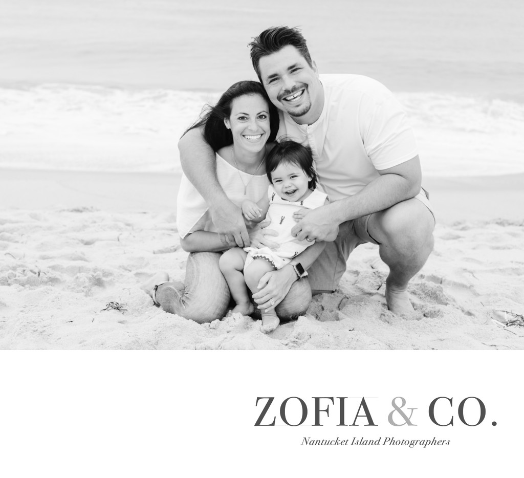 black and white Nantucket family beach portrait