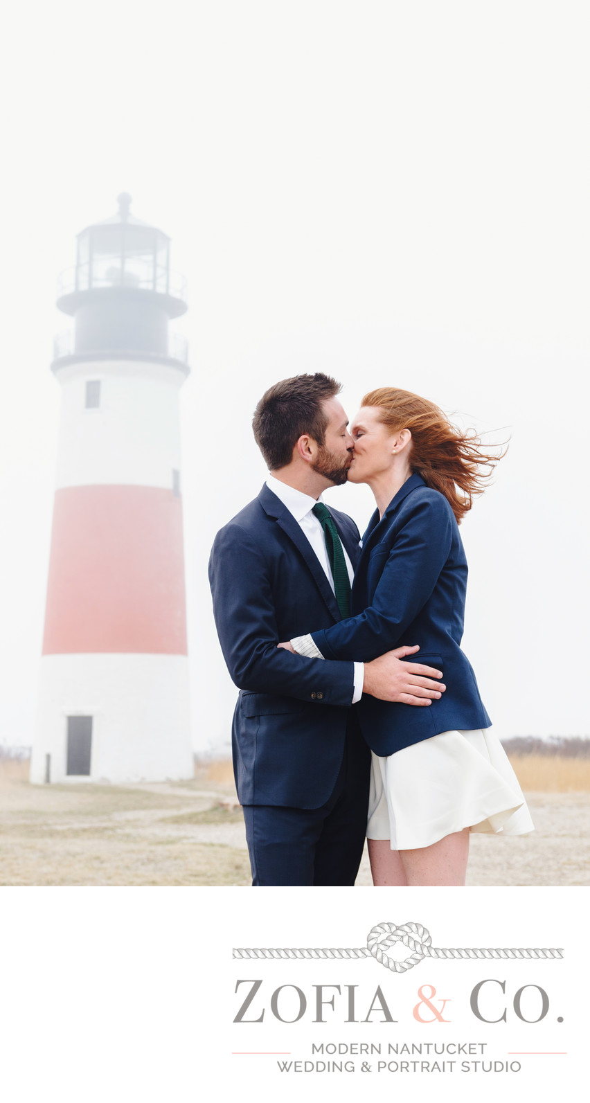 windy engagement session at foggy sankaty lighthouse