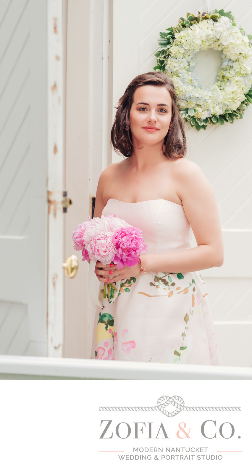 floral bridesmaids dress with hydrangea wreath at sconset chapel