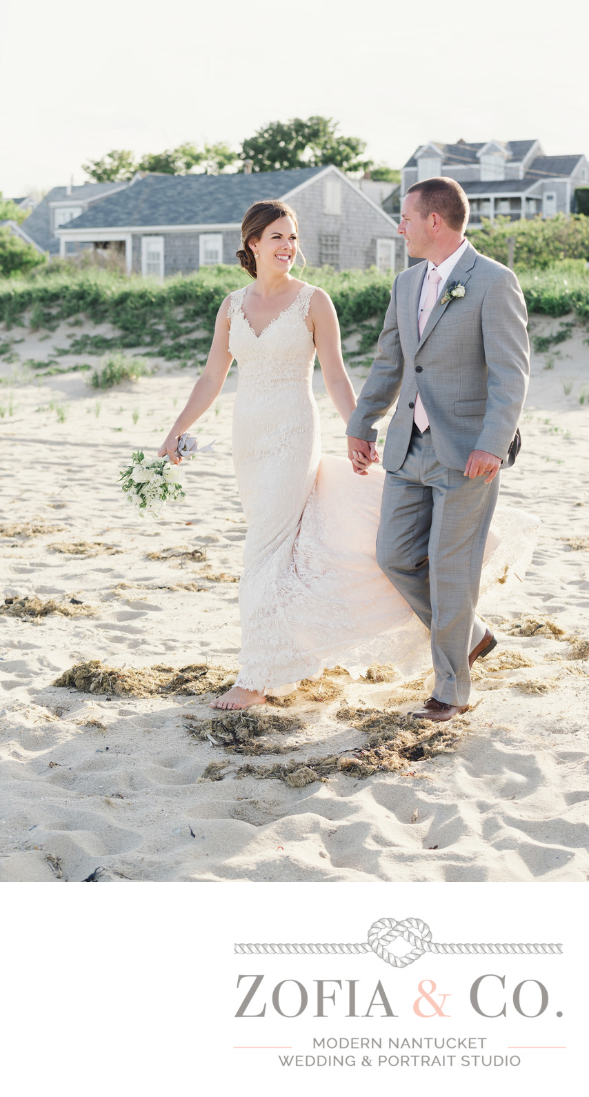 bride in lace and groom in grey on sconset beach