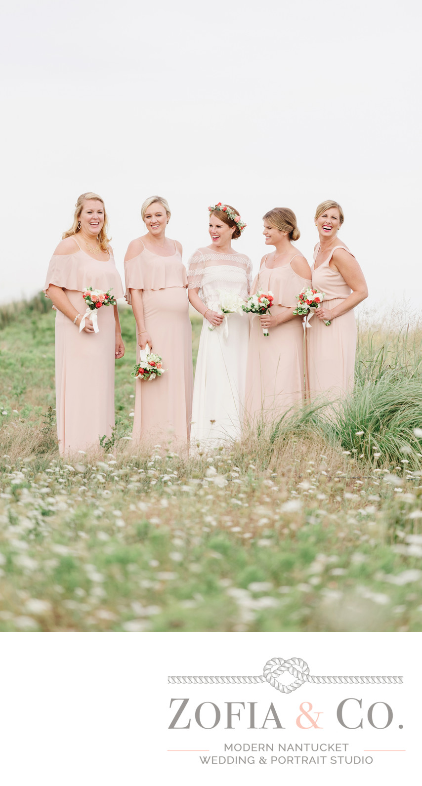 beautiful bridal party in pink
