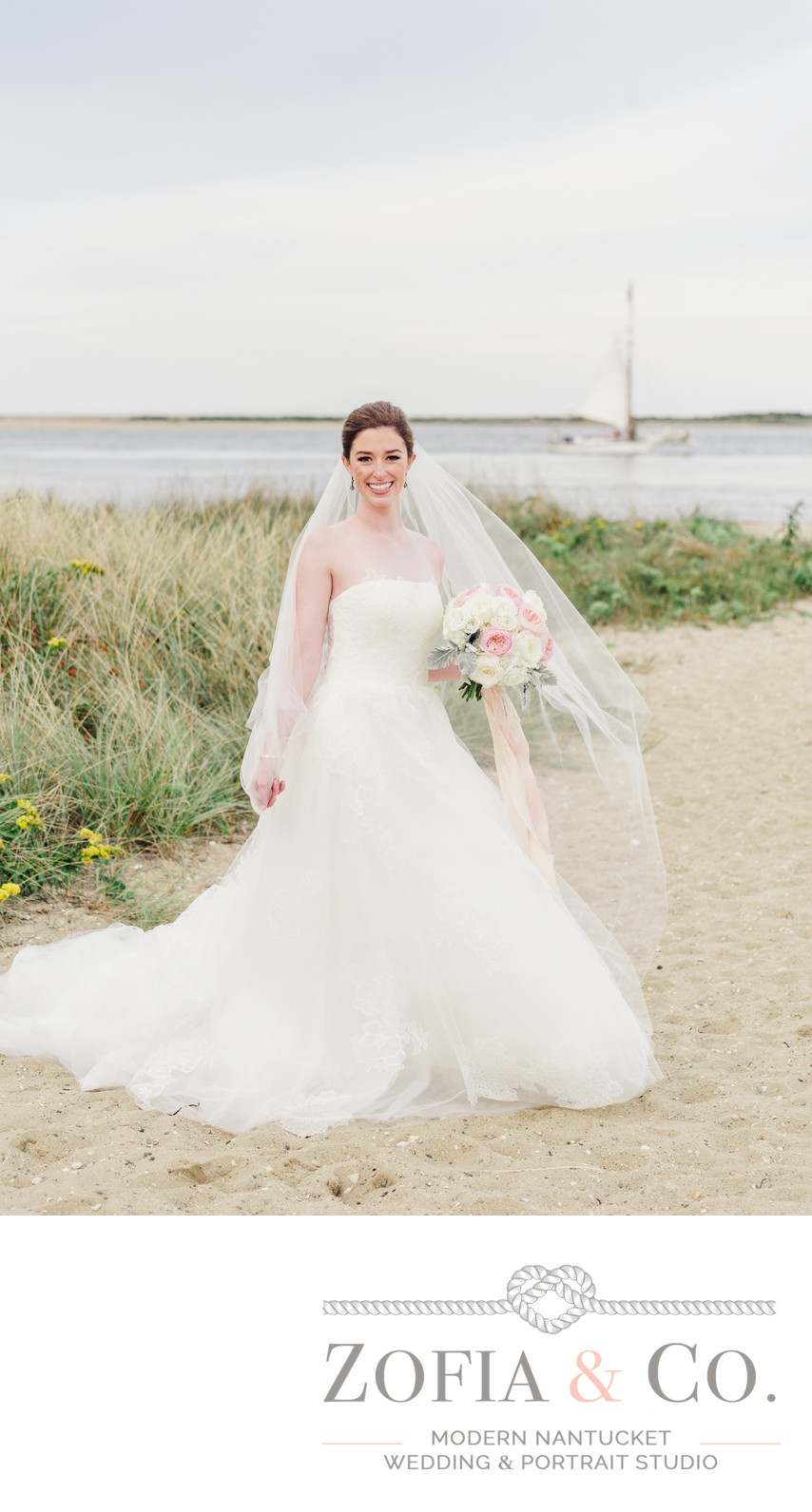 brant point bride with veil and sailboat