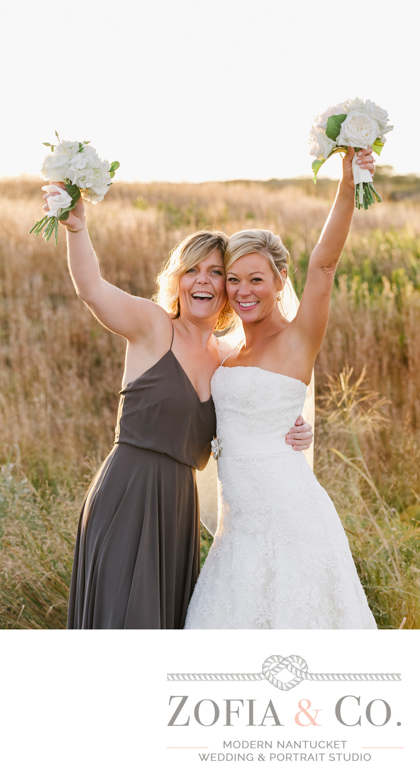 bestfriends nantucket bride and bridemaid in grey