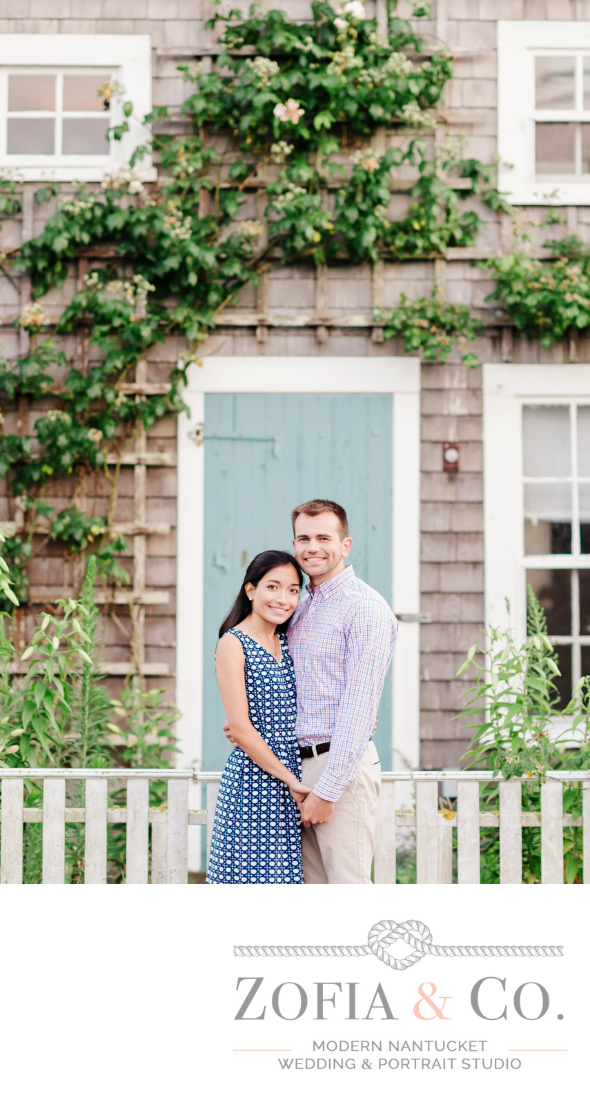 rose covered cottage engagement photography in nantucket