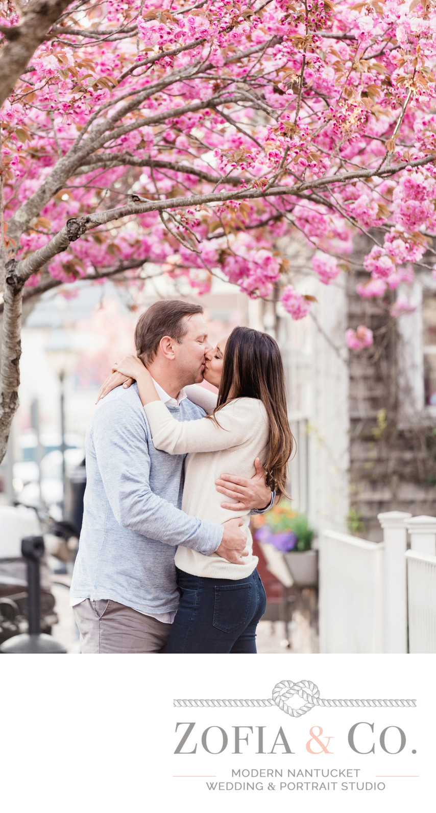 spring cherry trees downtown nantucket engaged couple
