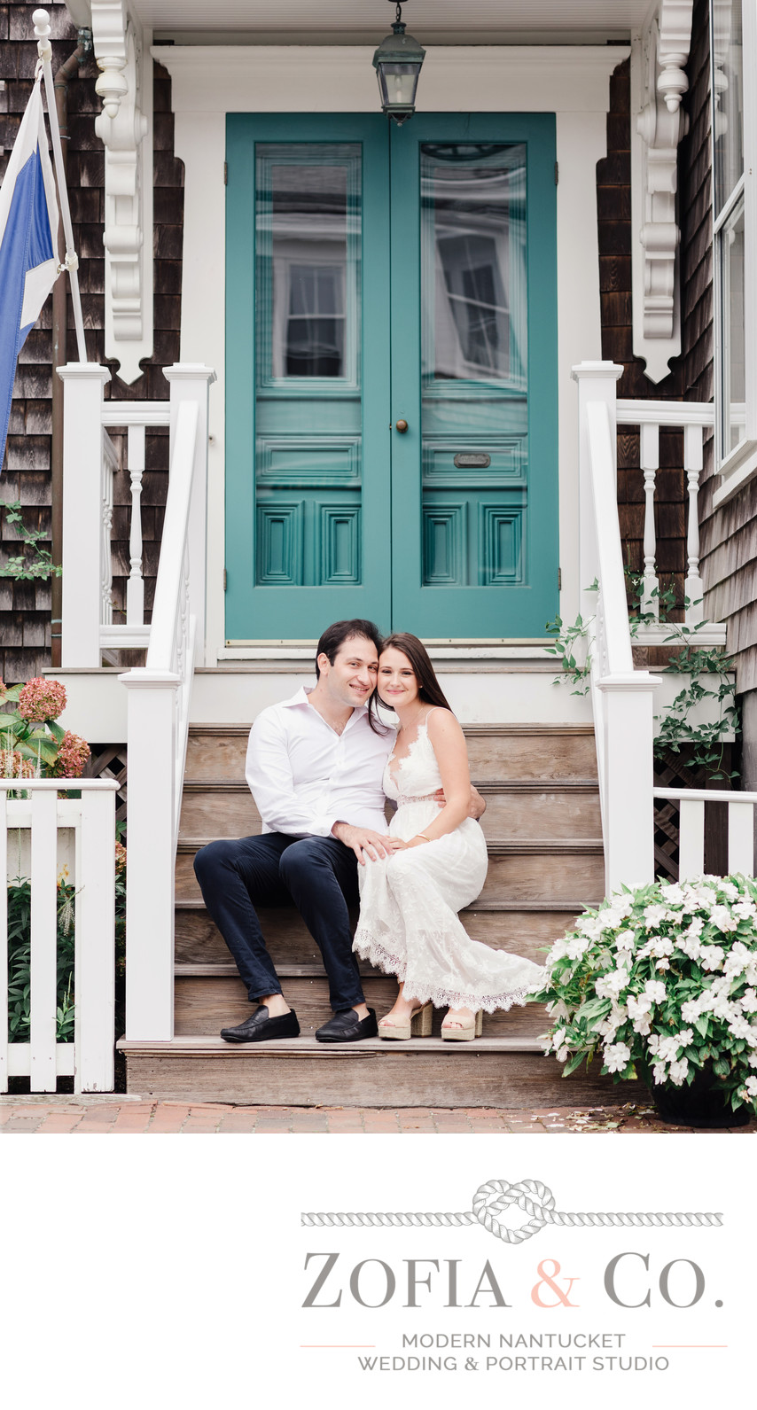 downtown nantucket blue door cottage engaged couple