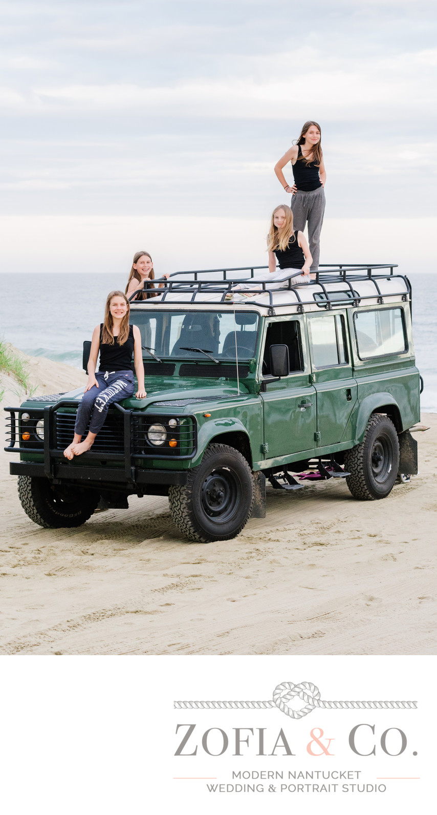 nantucket land rover defender beach portraits