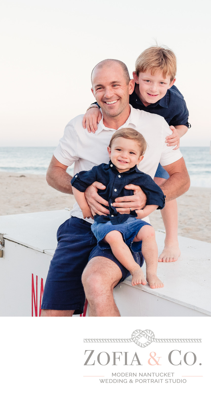 father and sons portrait at miacomet beach