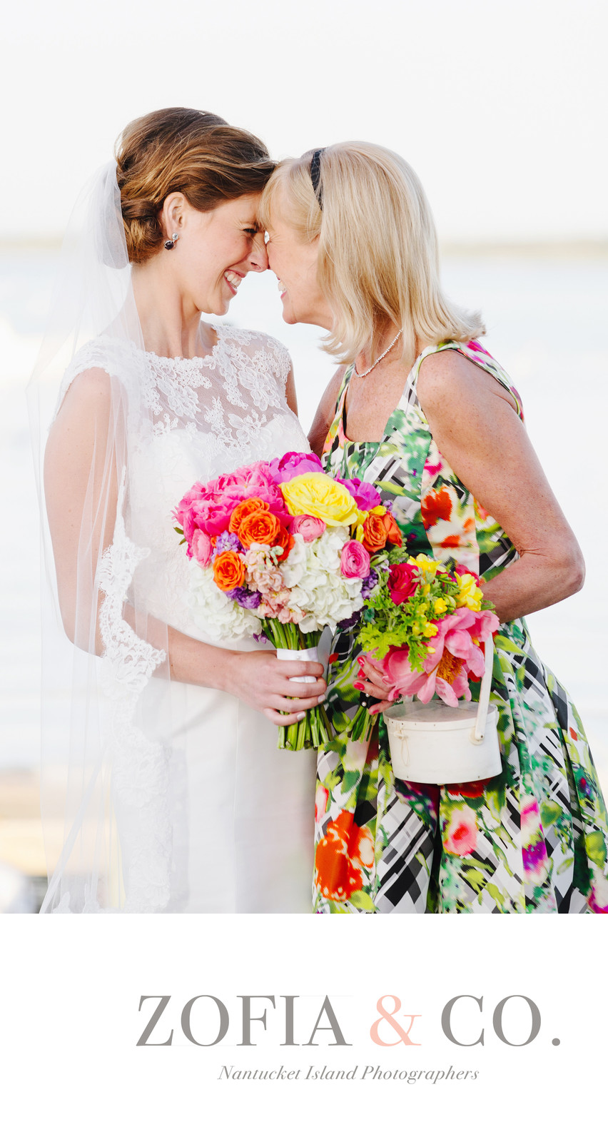 Nantucket Bride and her Mother Colorful Bouquet