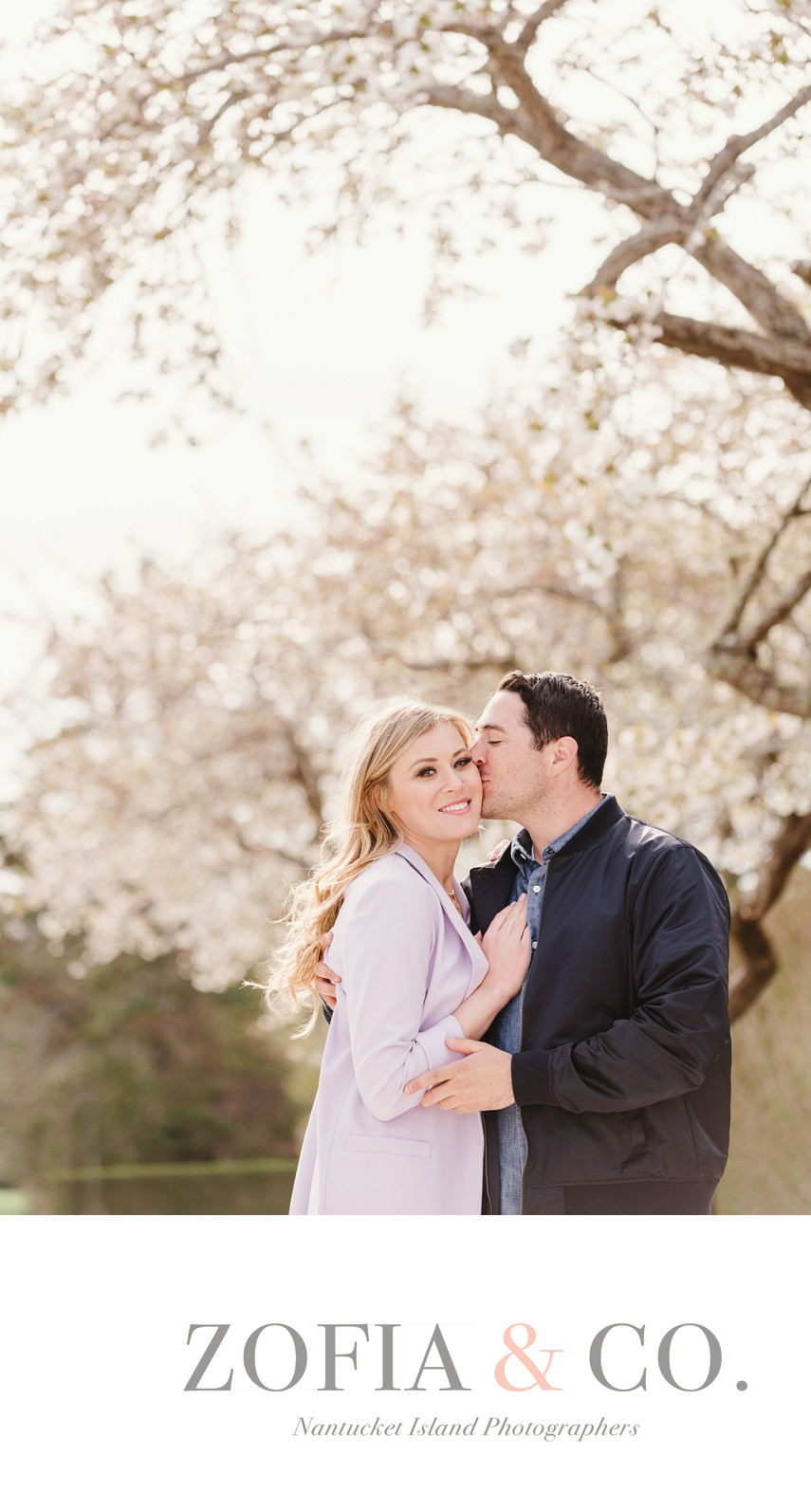 Nantucket Spring Engagement Session Apple Trees