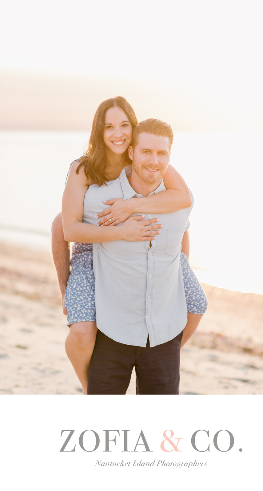 Piggyback on the beach engagement