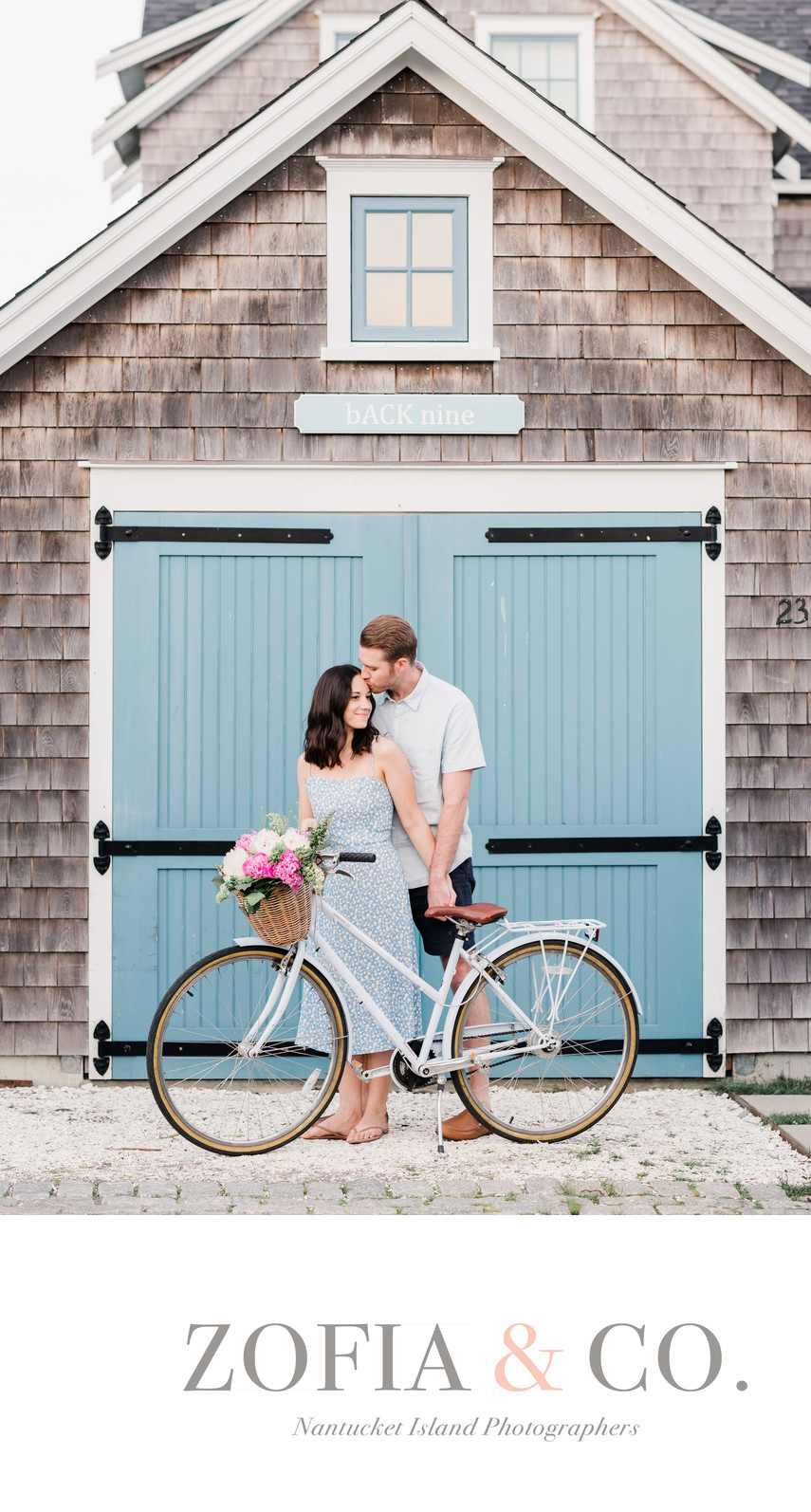 Nantucket Engagement with Bike and Flowers