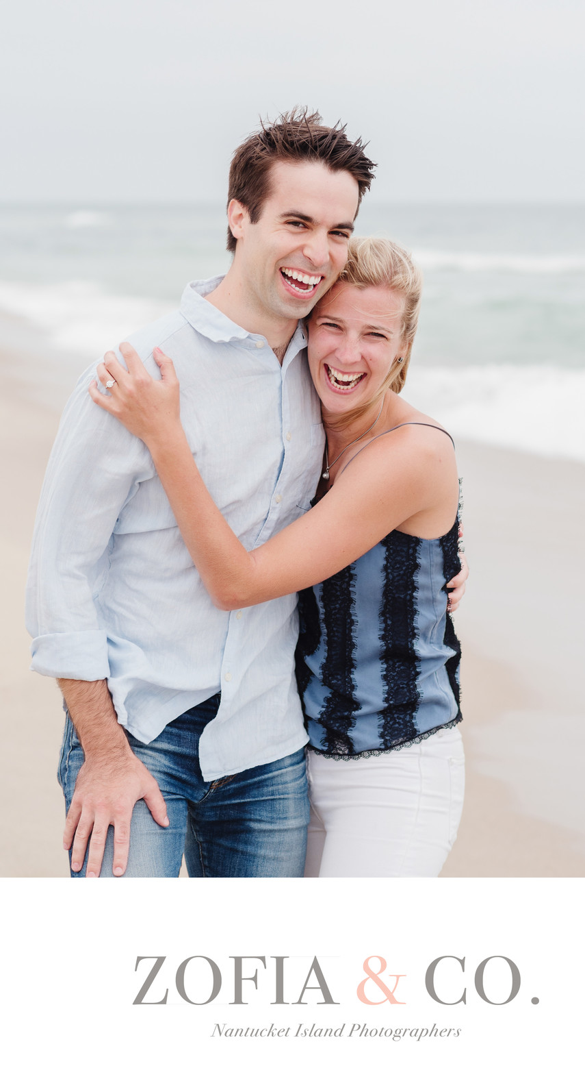 Happy engaged couple on Ladies Beach Nantucket