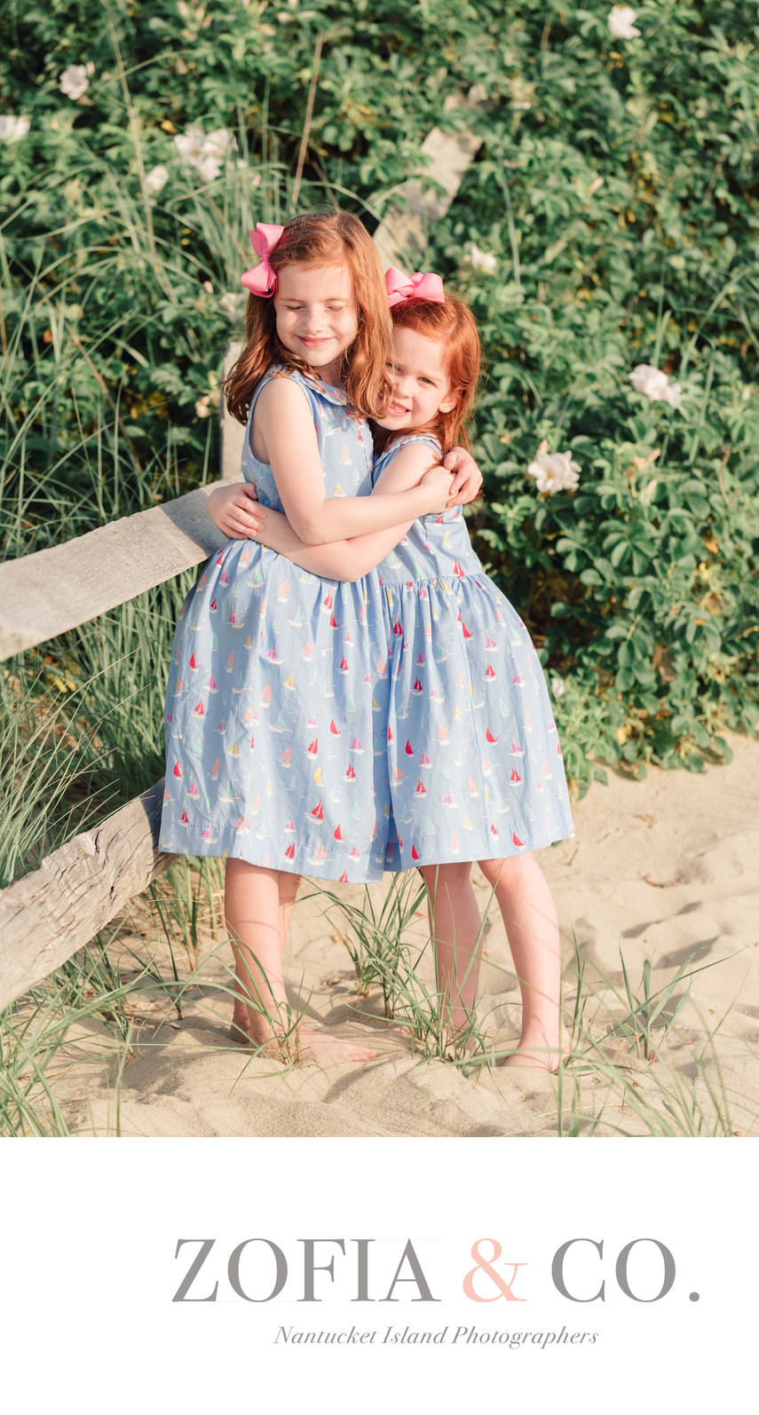 Nantucket red headed sisters at Steps Beach