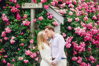 Mitchell st sconset rose cottage engagement couple