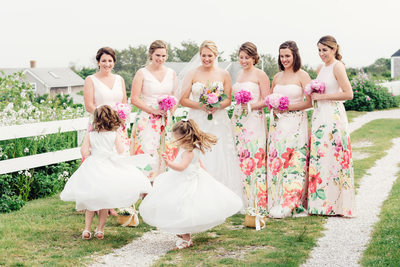 floral bridesmaids dresses watching flowergirls dance in sconset