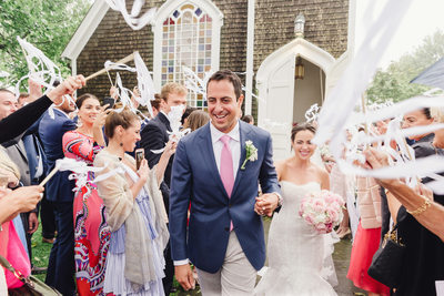 wedding streamers celebrate just married nantucket couple