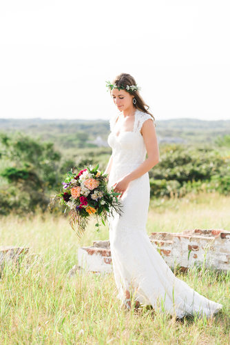 Rustic bride with flower crown at Sankaty Lighthouse