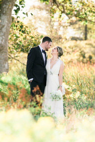 Nantucket wedding couple at bamboo forest