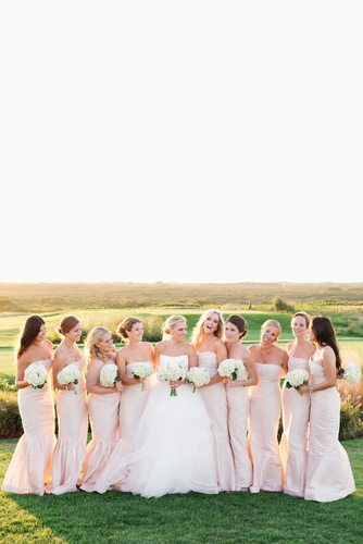 Nantucket bridal party in pink Sankaty Head Golf Club