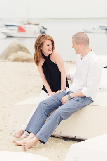 engaged couple at charles st beach nantucket