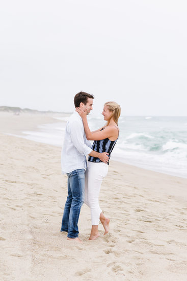 beach engagement session on nantucket