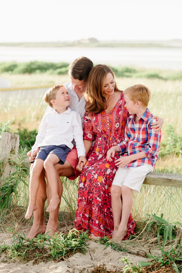 Nantucket family in red and blue on beach