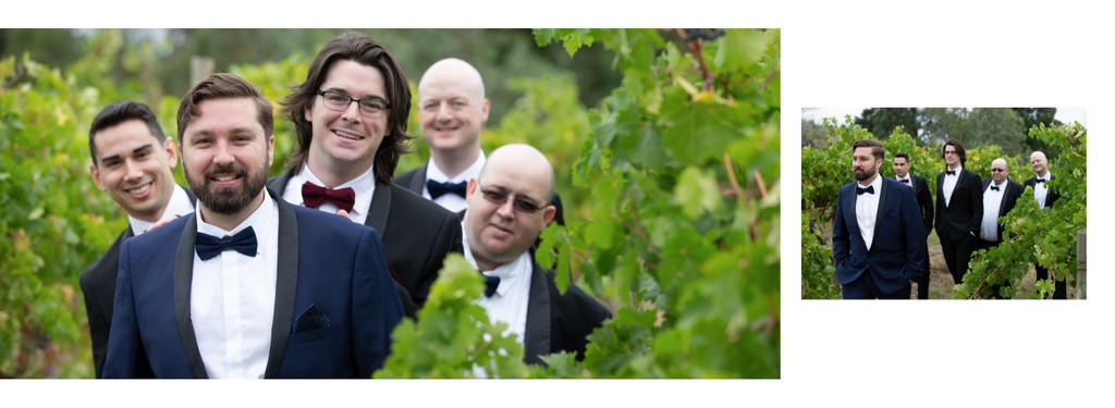 Melbourne Wedding Photo Album: Groomsmen in Vineyard