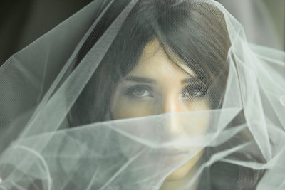 Bridal Headshot Of Bride Under Veil At Mayfair Hotel, Adelaide