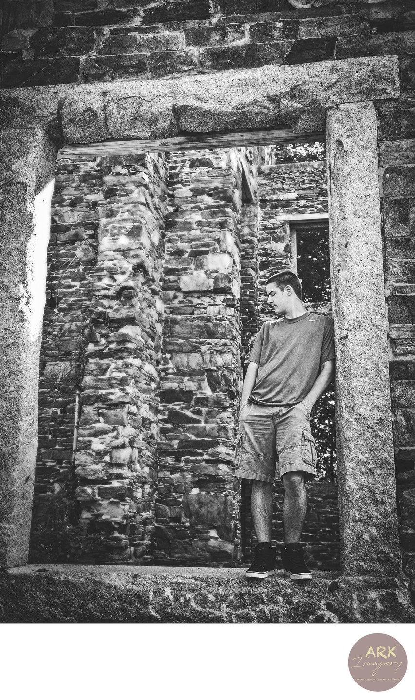 Maine Senior Portraits in Black and White