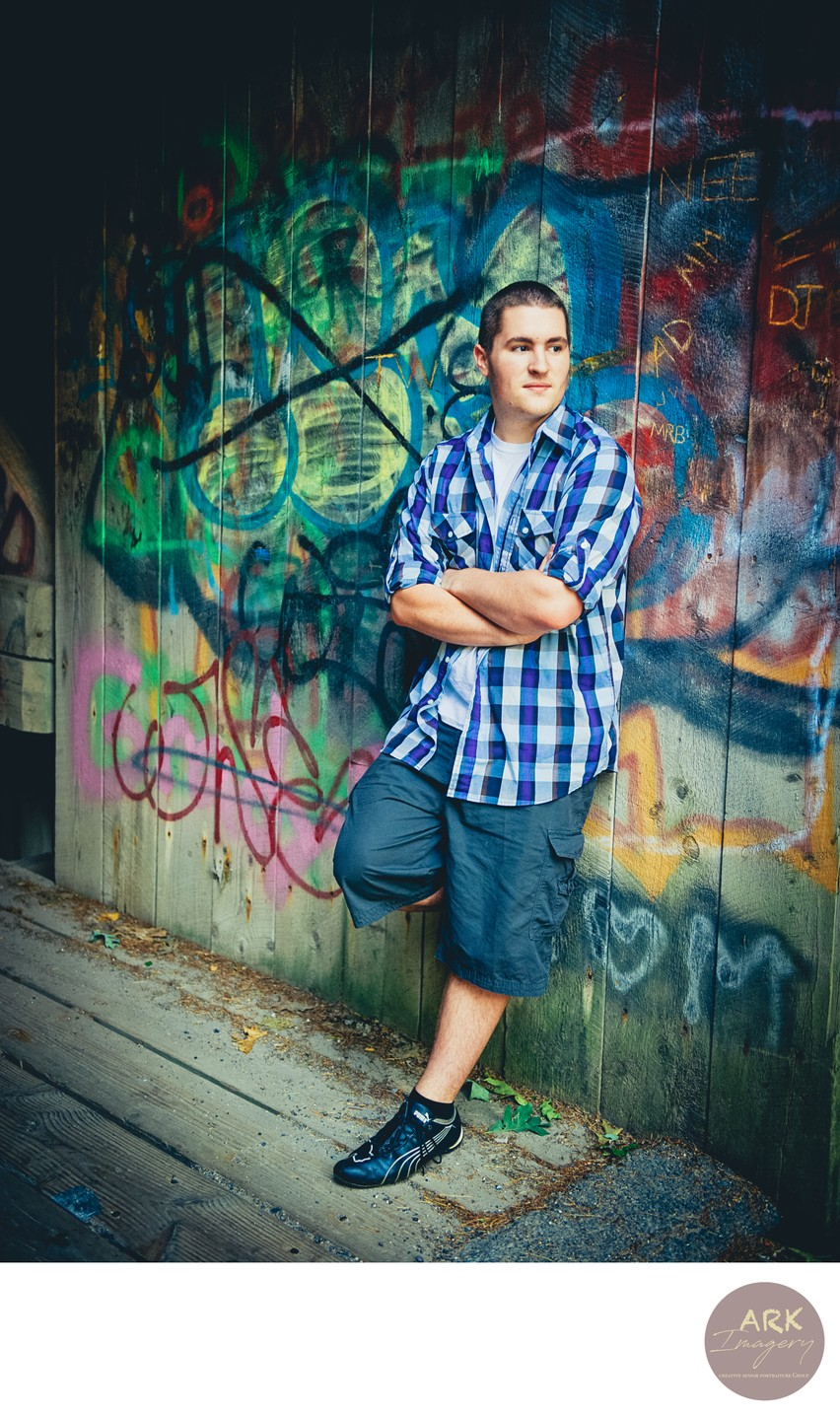 Maine High School Senior Photos with Graffiti
