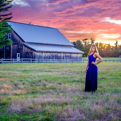 Senior Portrait with Dramatic Sunset