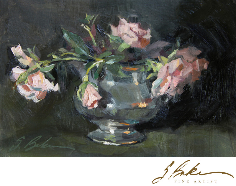 Test of Time, Antique Roses in Pewter Carafe, 6x9