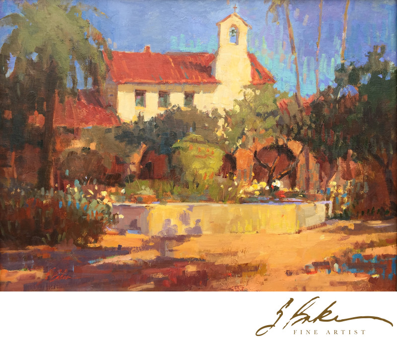 Capistrano Light and Shadow, oil on linen, 18