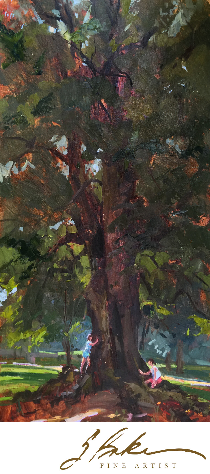 Story Tree, oil on linen panel, 30x15
