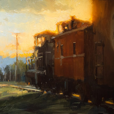 Orient/Santa Fe Line, oil on panel, 12x16