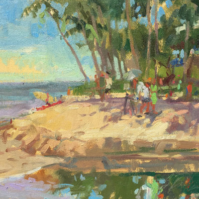 Jim McVicker Painting on Canoe Beach, Maui, 10x12