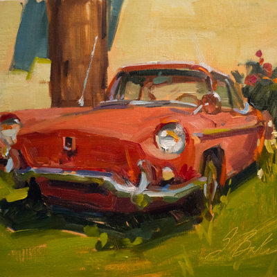 Renault Rouge 2, oil on linen panel, 9x12