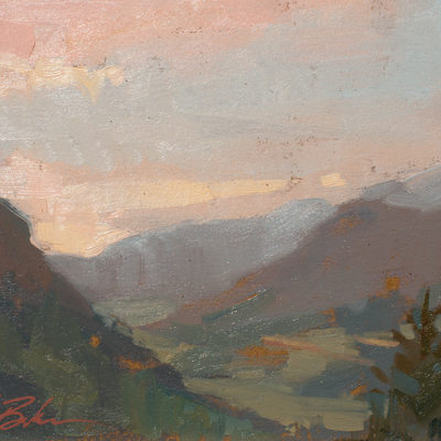 Smokey Haze over Telluride, oil, 6x8